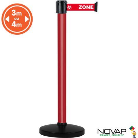 Poteau alu Rouge à sangle Rouge Zone contaminée sur socle portable - Novap