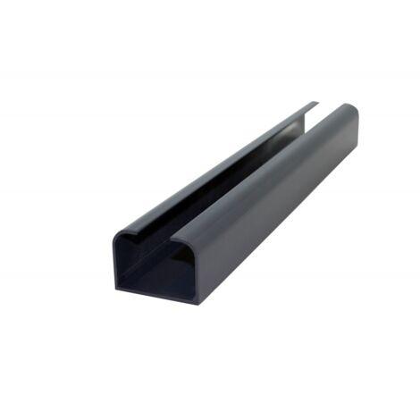 Poteau aluminium départ ou fin de clôture - Coloris - Gris anthracite RAL 7015, Epaisseur - 4.21cm, Largeur - 6 cm, Longueur - 232 cm