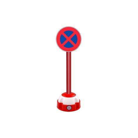 Poteau aluminium Rouge sur socle balise avec panneau - Défense de s'arrêter et de stationner - 2030328