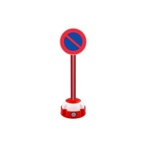 Poteau aluminium Rouge sur socle balise avec panneau - Défense de stationner - 2030250