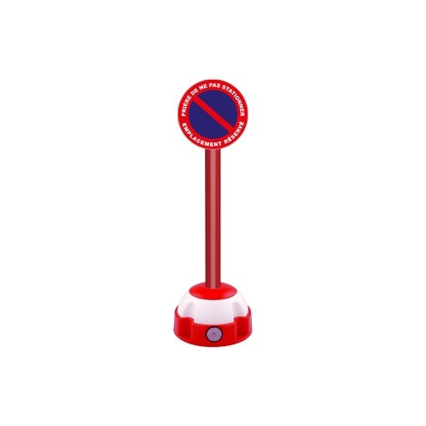 Poteau aluminium Rouge sur socle balise avec panneau - Défense de stationner emplacement réservé - 2030298