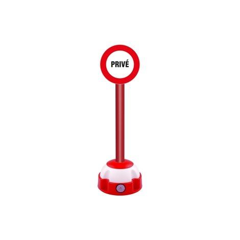 Poteau aluminium Rouge sur socle balise avec panneau - Privé - 2030304