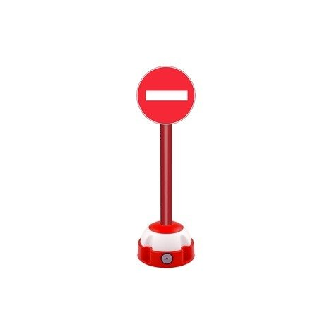 Poteau aluminium Rouge sur socle balise avec panneau - Sens interdit - 2030274