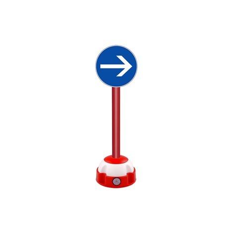 Poteau aluminium Rouge sur socle balise avec panneau - Sens obligatoire - 2030267