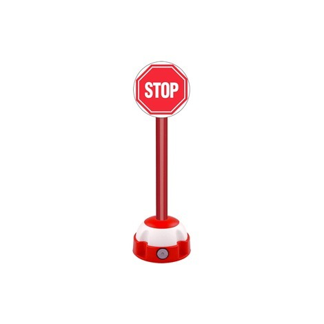 Poteau aluminium Rouge sur socle balise avec panneau - Stop - 2030281