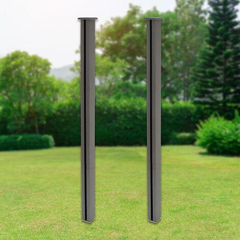 """main image of """"Poteau clôture de jardin en WPC pilier gris 185 cm lot de 2 pièces ML-Design®"""""""