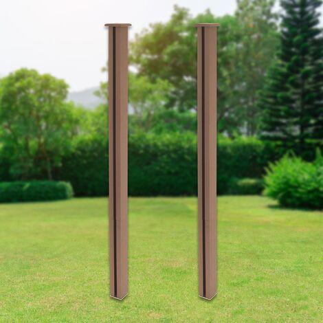 """main image of """"Poteau clôture de jardin en WPC pilier marron 185 cm lot de 2 pièces ML-Design®"""""""