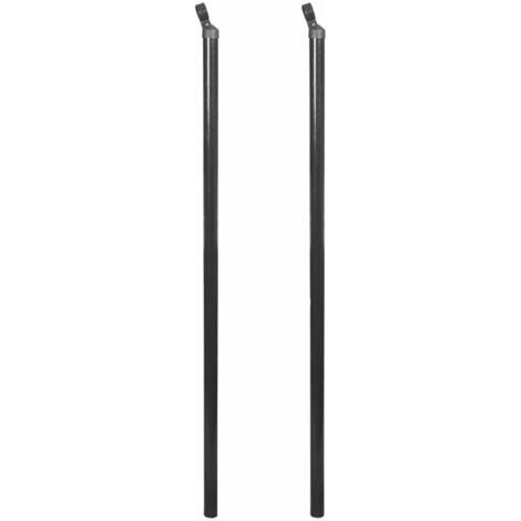 Poteau d'appui pour clôture à mailles 2 pcs 150 cm