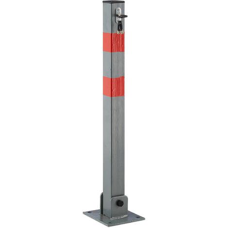 Poteau de parking, barrière de parking rabattable voiture 65 cm de hauteur en acier, gris et rayures rouge