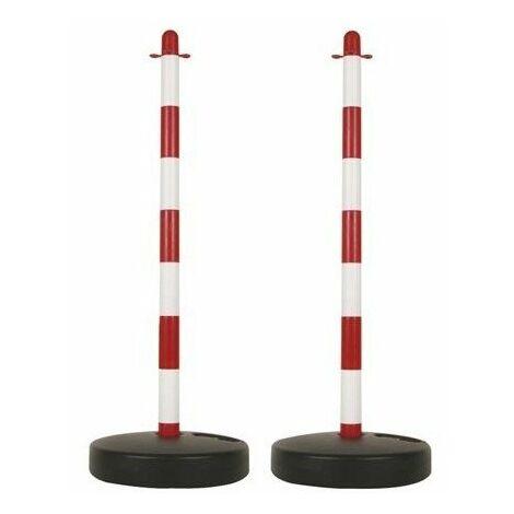 Poteau En Plastique Pour Chaîne De Signalisation - Rouge/Blanc - 2 Pcs