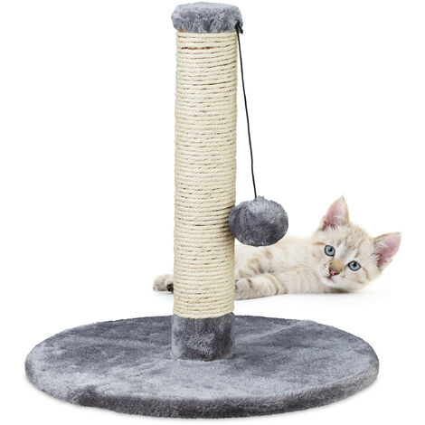 Poteau griffoir chat, petit arbre, tronc en sisal et jouet, HxD 43x40 cm, gris