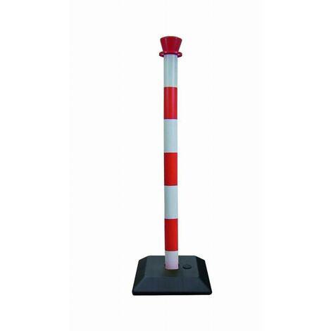 Poteau plastique monobloc rouge/blanc base à lester VISO Ø50 H.950 mm - PPC3001RB