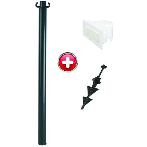 Poteau PVC grande hauteur Noir sur pointe avec support panneau - 2000543