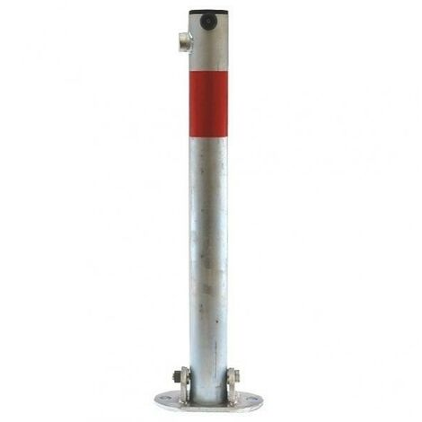Poteau rabattable 610-GR GALVANISÉ/ROUGE (clefs distinctes) bande rouge réfléchissante