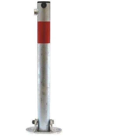 Poteau rabattable 610-GR GALVANISÉ/ROUGE (s'entrouvrant) bande rouge réfléchissante