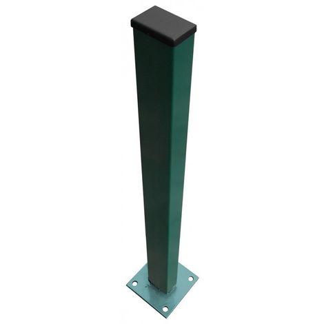 Poteau vert sur platine pour grillage rigide