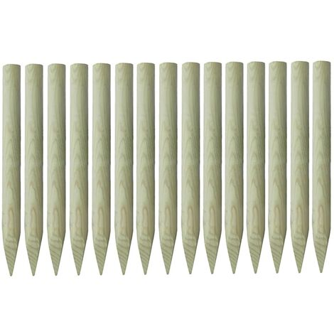 Poteaux de clôture pointus 15 pcs Pin imprégné 4x100 cm