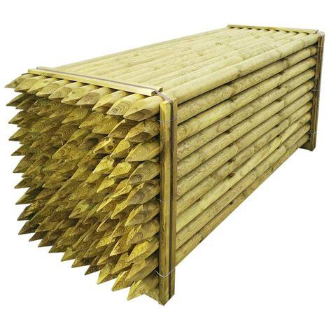 Poteaux pointus de clôture 100 pcs Bois imprégné 8x240 cm