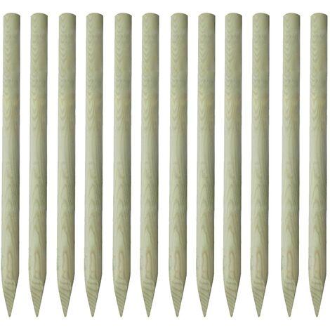 """main image of """"Poteaux pointus de clôture 12 pcs Bois imprégné 150 cm"""""""