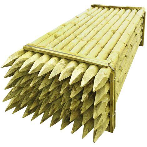 Poteaux pointus de clôture 50 pcs Bois imprégné FSC 10x240 cm
