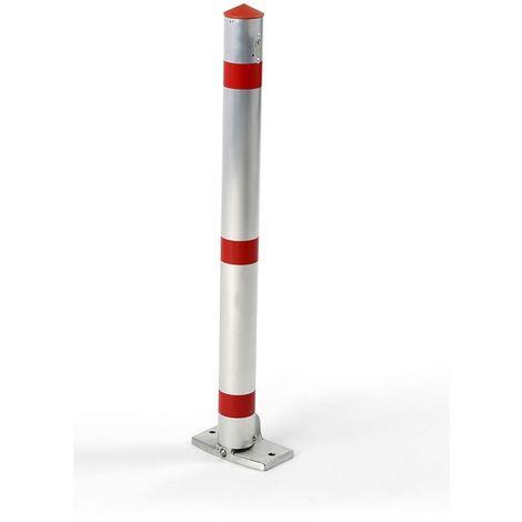 Potelet en tube rond d'aluminium, verrouillable - avec pédale et verrouillage automatique - serrure pompier - Coloris montant: argent alu