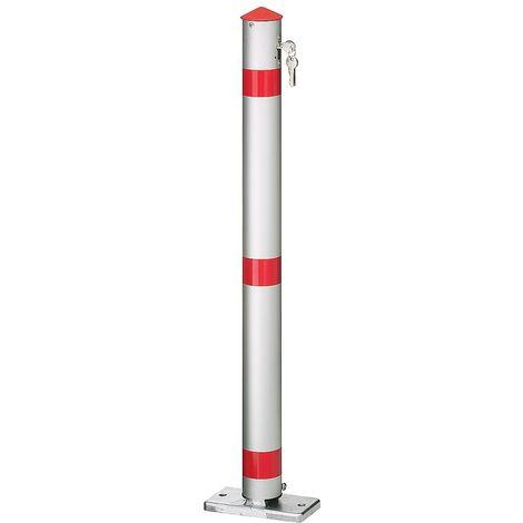 """main image of """"Potelet en tube rond d'aluminium, verrouillable - sans pédale - serrure à cylindre - Coloris montant: argent alu"""""""