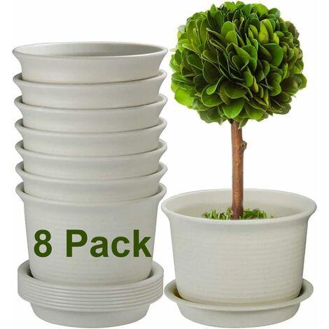 """main image of """"Pots de fleurs d'extérieur, pots en plastique de 10 pouces pour plantes, jardinières avec trou de drainage et plateau, lot de 6, plantes non incluses"""""""