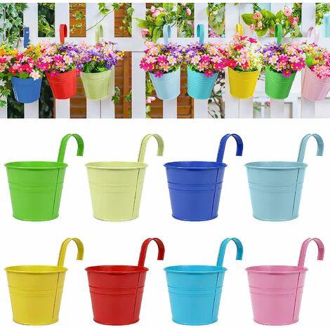 Pots de Fleurs, Pots de Jardin, seaux à Suspendre, Pots de Fleurs en métal, décoration d'intérieur – Crochet Amovible (8 pièces de Taille Moyenne)