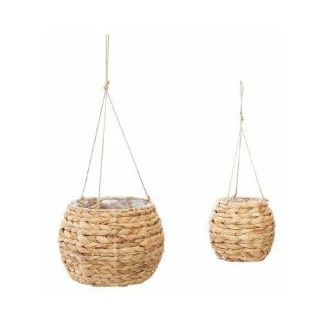 Pots suspendus X 2 en jacinthe tressée - D 16 cm et 26 cm - Beige