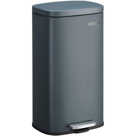 Poubelle 30 litres à pédale fermeture lente anti-odeur et hygiénique gris anthracite - Gris