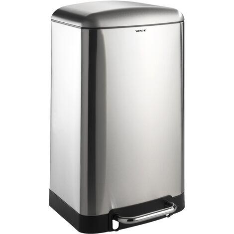 Poubelle 30L, poubelle cuisine à pédale, Studio, acier inox, Easy-Close WENKO