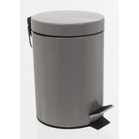 Poubelle 3L métal taupe - Dimensions : Hauteur 24 x Diamètre 17 cm