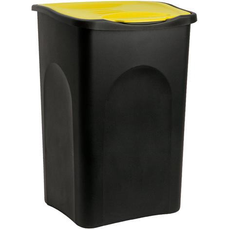 Poubelle 50 litres - Avec couvercle - Collecteur de déchets - Noir/jaune