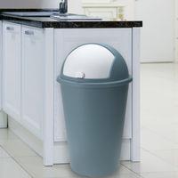 Poubelle 50 litres Bleu gris - Couvercle basculant - 68cm x 40cm Maison déchets