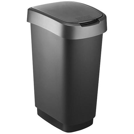 Poubelle 50 litres noir-anthracite twist couvercle à bascule - SUNDIS