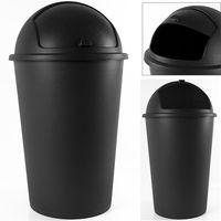 Poubelle 50 litres noir - couvercle basculant - 68cm X 40cm