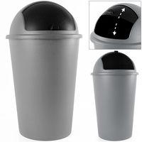 Poubelle 50 litres Push Can - couvercle basculant - 68X 40cm - Gris Noir
