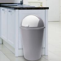 Poubelle 50 litres taupe - couvercle basculant - 68cm x 40cm Maison déchets