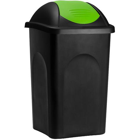 Poubelle 60 litres - Avec couvercle - Collecteur de déchets - Noir/vert