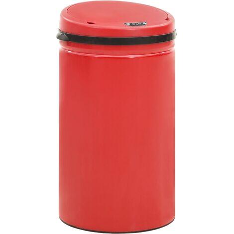 Poubelle à capteur automatique 50 L Acier au carbone Rouge