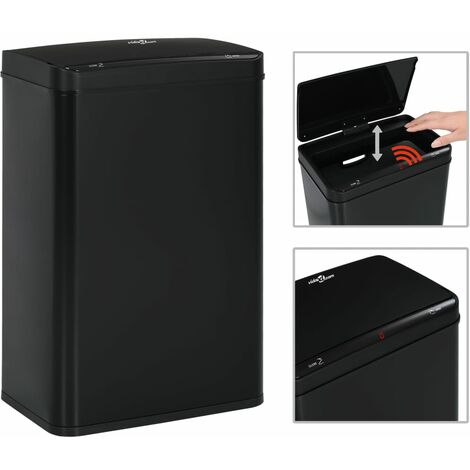 Poubelle à capteur automatique Noir Acier 60 L