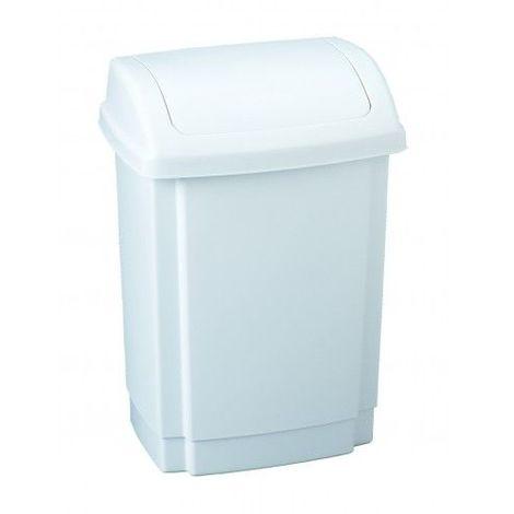 Poubelle à couvercle basculant RIF capacité 50 litres Corps et couvercle en polypropylène haute densité 330 x 420 x 590mm / Couleur: blanc / Référence: 906350