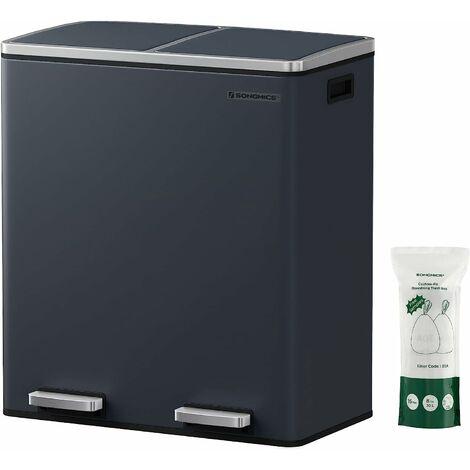 Poubelle à Double Compartiment 2 x 30L, avec 2 seaux intérieurs en Plastique, couvercles, poignées, Fermeture en Douceur, hermétique, Gris LTB60GS - Gris