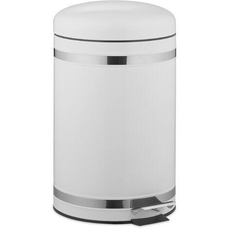 Poubelle à pédale 12 L inox seau intérieur anse couvercle salle de bain déchets, blanc