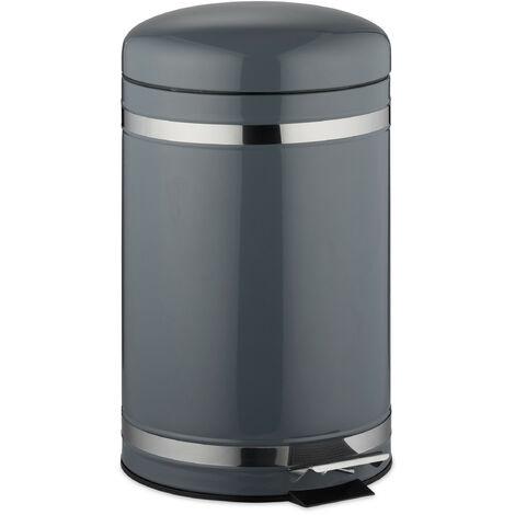 Poubelle à pédale 12 L inox seau intérieur anse couvercle salle de bain déchets, gris