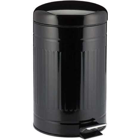 Poubelle à pédale 12 L inox seau intérieur anse couvercle salle de bain déchets, noir