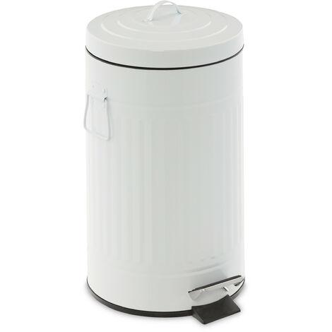 Poubelle à pédale 12 litres, couvercle et seau intérieur, rabattage automatique, métal, rétro, cuisine, blanc