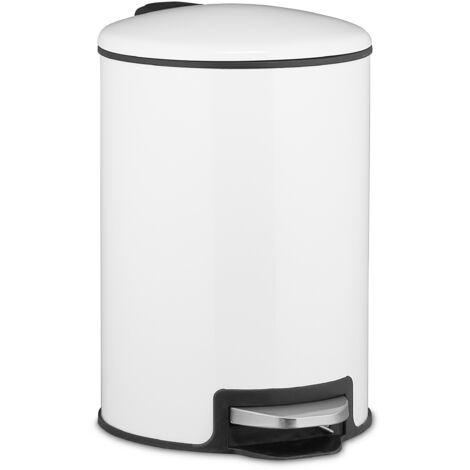 Poubelle à pédale 20 l, avec couvercle et seau intérieur, rabattage automatique, métal, pour la cuisine, blanc