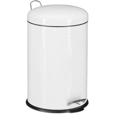 Poubelle à pédale 20 L inox seau intérieur anse couvercle salle de bain cuisine déchets, blanc