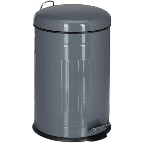 Poubelle à pédale 20 L inox seau intérieur anse couvercle salle de bain cuisine déchets, gris
